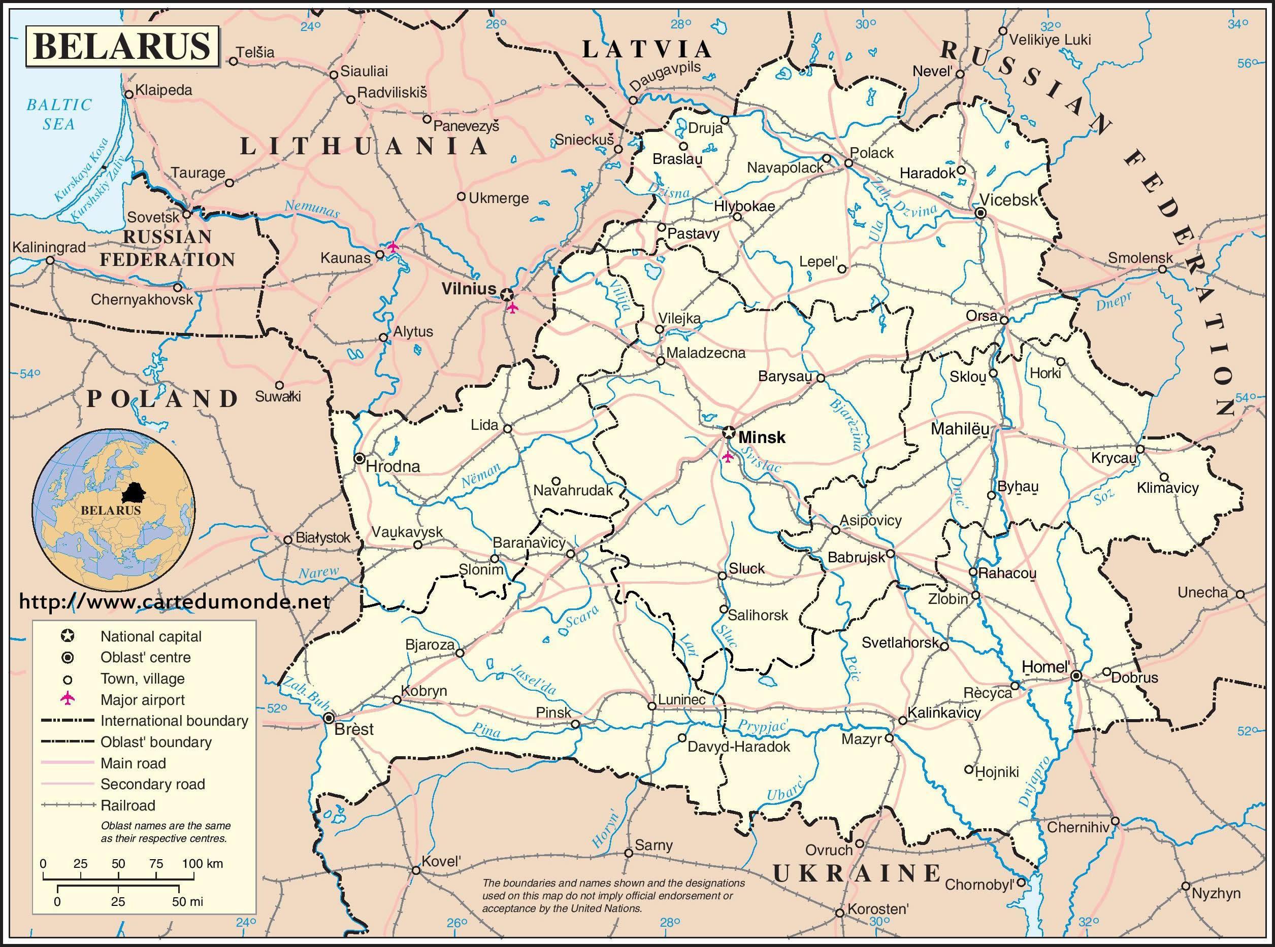 Belarus Karte Belarus Country Map Ost Europa Europe