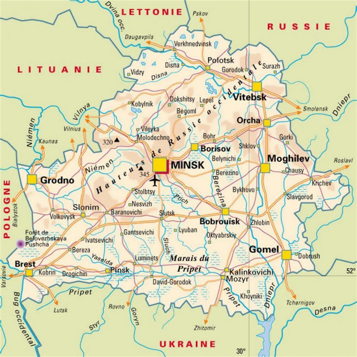 Karte Von Europa Mit Städten.Belarus Städte Map Karte Von Belarus Städte Ost Europa Europe