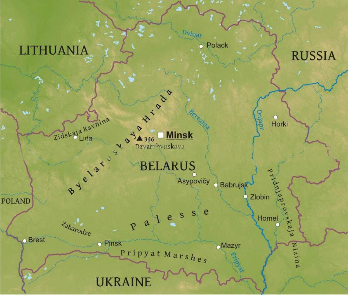 Belarus Physische Karte Landkarte Von Belarus Physischen Ost